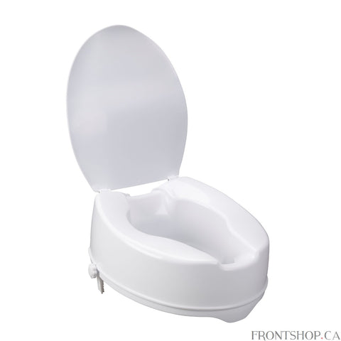 "This raised toilet seat with lid by Drive Medical is designed to increase the height of your existing standard toilet seat. Available in a 6"" elevated size providing maximum comfort and support. It easily attaches tool-free to your toilet and locks in place using two rear locks. A pair of hygiene cutouts provide convenience and allows the product to be cleaned. The elevated seat will help individuals who need a boost sitting down or standing up from the toilet. For consumers using a wheelchair this product"