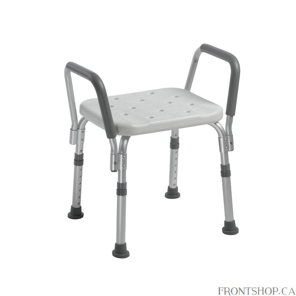 This shower bench from Drive Medical is designed to provide added security, stability and comfort. The aluminum frame is lightweight and durable, as well as corrosion proof to ensure easy transferring and product longevity. The drainage holes in the seat reduce possible slipping ensuring user safety. The legs are adjustable to accommodate any size user. It also comes with tool-free, removable padded arms. This item is made from recyclable material.