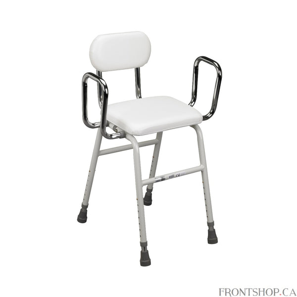 This all-purpose, Kitchen Stool, by Drive Medical is convenient and comfortable for everyday use. The stool features a padded seat and back for added comfort and an angled seat that makes sitting down and getting up easy. This stool also comes standard with removable arm supports with adjustable width to accommodate users size.