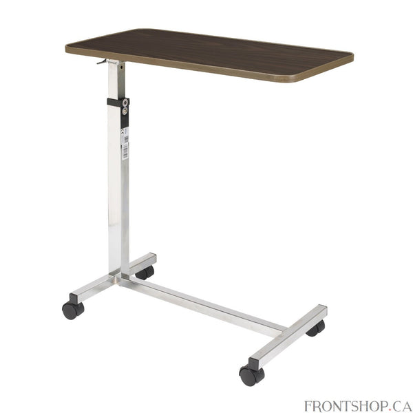 "The walnut, wood grain low-pressure laminate top on this deluxe tilt-top table by Drive Medical tilts 33 degrees in either direction, giving you the ability to adjust it to suit your needs. With the slightest upward pressure, the table can be raised or lowered in infinite settings between 26.5""-46"", and the top locks securely when the height adjustment handle is released. Chrome-plated steel ""H"" base provides added stability and security and lead to swivel casters, which allow for maneuverability."