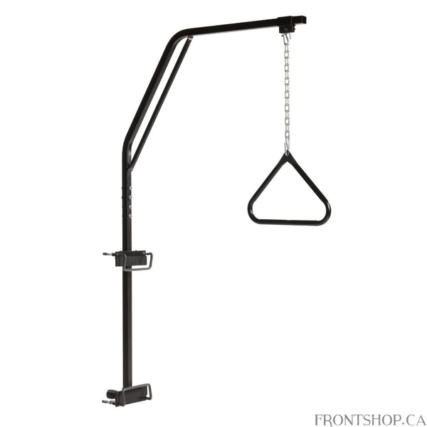 To help those who have need assistance changing positions while in bed and transferring from bed to chairs, the easily installed Trapeze Bar can help. No tools are required to mount the durable steel trapeze to the metal frame headboard of most major manufacturer's homecare beds. The Trapeze is easy to adjust in height, length and horizontal position to provide maximum support and looks great with its attractive brown-vein finish.