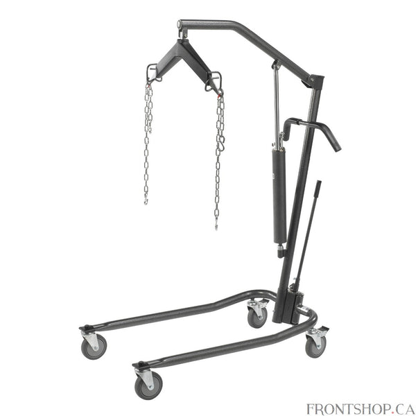 With sturdy steel construction and 6-point cradle design, this new-style patient lift by Drive Medical safely raises or lower individuals up to 450 pounds from any stationary position. The lift utilizes high-performance hydraulics to ensure safe and gradual movement. Easy-to-operate breaks on the casters provide additional safety and security, while an adjustable width base allows for a proper fit.
