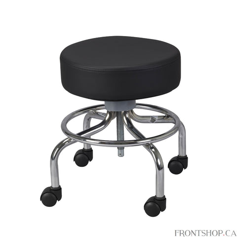 "With a revolving 14"" seat that features 4"" of padding, this deluxe wheeled round stool is comfortable and practical. Smooth screw height adjustment includes a solid steel screw shaft; they make raising and lower the seat a cinch. That functionality is supported by the strength of 1"" chrome-plated steel tubular construction that can withstand a weight capacity of 250 pounds. Four hooded casters allow for easy transports on the stool"