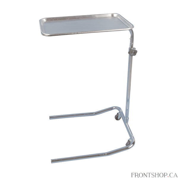 "A single-post stand with ""U"" base design ensures both support and versatility for this Mayo Instrument stand by Drive Medical. The tray height adjusts from 32 1/8"" to 50"" and includes a lock for security. No matter what height it sits, the stand supports a removable stainless steel tray that measures a roomy 19"" x 12 5/8"". Two 3"" casters provide additional mobility."