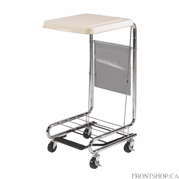 "This hamper stand by Drive Medical features a white, poly-coated 18"" x 19"" steel lid that can be raised or lowered easily by a non-slip pedal. The hamper supports 36 to 42-gallon bags and glides easily thanks to 3"" locking casters. The chrome-plated steel frame is attractive and simple to maintain."