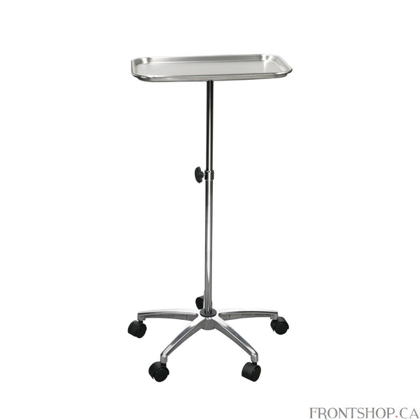 "Five casters on the base provide sturdy footing and additional mobility and convenience for this Mayo Instrument stand by Drive Medical. The product includes a removable stainless steel tray that measures a roomy 19"" x 12.5"". The tray height adjusts from 29.5"" to 47"" and is secured in place by a lock."