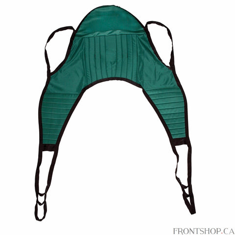 "With four sling points and a padded head support, this Large Padded Patient Lift U-Sling with Head Support by Drive Medical is a valuable accessory to a floor lift. The solid-design, polyester product does not require an optional chain or strap and can withstand a weight capacity of 600 pounds. The 54""L x 46""W sling includes 4 or 6 cradle points."