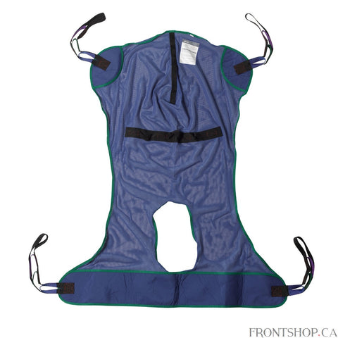 "With a commode cutout and four sling points, this Medium Full Body Patient Lift Sling by Drive Medical is adaptable to any situation and works with any floor lift. The mesh-design, polyester product does not require an optional chain or strap and can withstand a weight capacity of 600 pounds. The 53""L x 42""W sling includes 4 or 6 cradle points."