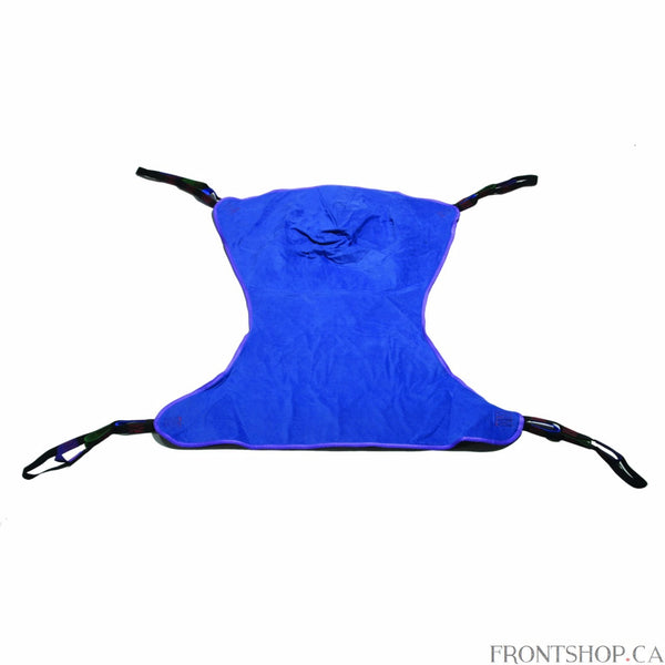 "With four sling points, this Medium Full Body Patient Lift Sling by Drive Medical is adaptable works with any floor lift. The solid-design, polyester product does not require an optional chain or strap and can withstand a weight capacity of 600 pounds. The 53""L x 42""W sling includes 4 or 6 cradle points."