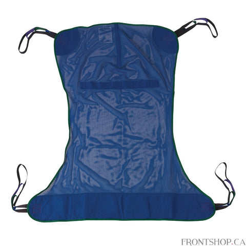 "With four sling points, this Large Full Body Patient Lift Sling by Drive Medical is adaptable works with any floor lift. The mesh-design, polyester product does not require an optional chain or strap and can withstand a weight capacity of 600 pounds. The 58""L x 45""W sling includes 4 or 6 cradle points."