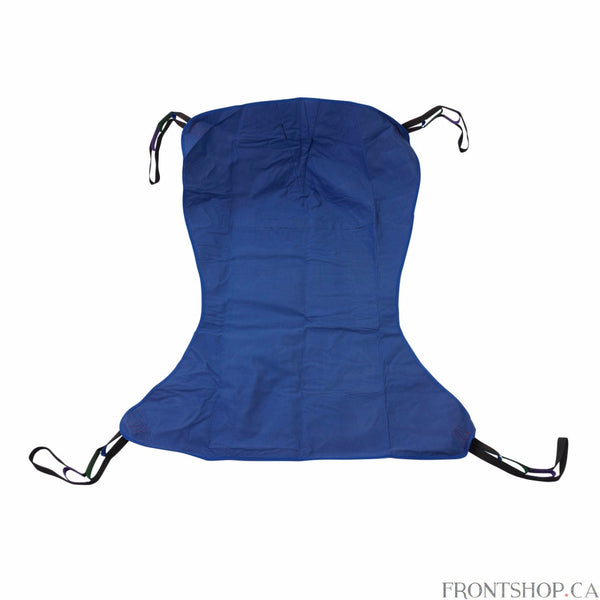 "With four sling points, this Extra Large Full Body Patient Sling by Drive Medical is adaptable works with any floor lift. The solid-design, polyester product does not require an optional chain or strap and can withstand a weight capacity of 600 pounds. The 62""L x 45""W sling includes 4 or 6 cradle points."