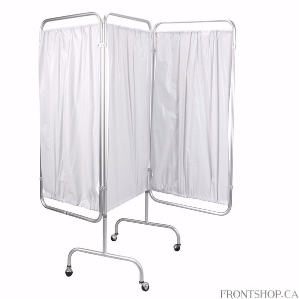 "Manufactured with flame retardant bacteriostatic white vinyl and sturdy 1"" anodized aluminum tubing, the 3-panel privacy screen from Drive Medical is well-built and functional. The materials are as easy to maintain as they are useful. Each hinged panel measures 56"" high and 27.5"" wide, giving the product an overall height of 70.5"". Four 3"" hooded casters make transportation and repositioning a cinch."