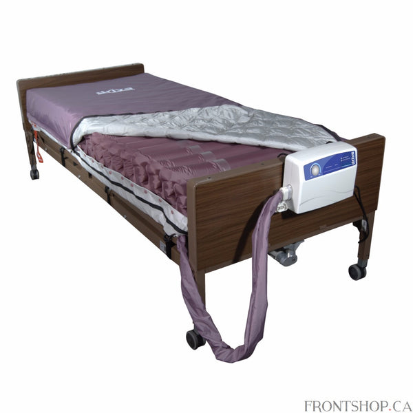 "The Med Aire Alternating Pressure Mattress Replacement System with Low Air Loss by Drive Medical provides alternating pressure and is designed to be used in the prevention, treatment and management of Pressure Ulcers. The mattress has 20 air bladders, nine with laser holes to achieve the low air loss function and to increase patients comfort by keeping the affected area cool and dry ensuring a speedy recovery. The Aire cells are 8"" high and are constructed with 40% nylon/60% PVC for longevity and durability"