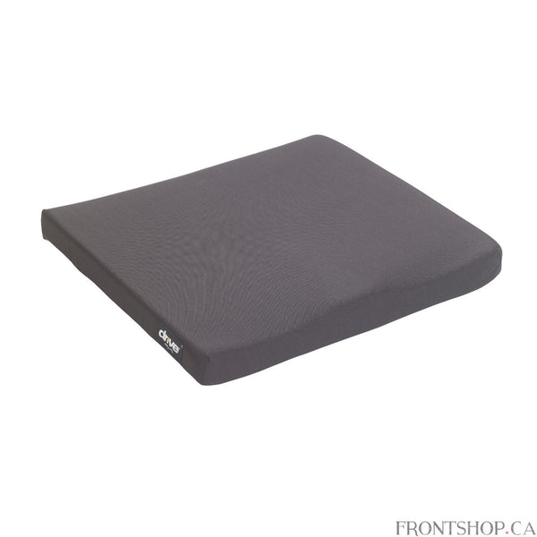 This cushion by Drive Medical offers a unique construction of high resilient molded foam to provide optimum stabilization, positioning, pressure reduction and seating posture. This cushion is designed for clients who are at a low risk for skin breakdown. The stretch, polyester, knit cover is removable and washable, as well as flame retardant. The cover also has a non slip bottom for added user comfort and safety.