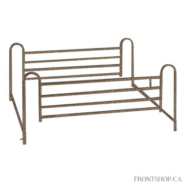 "These deluxe full length side rails for hospital beds by Drive Medical telescopes with movement of the bed to provide adequate support. The 1"" steel construction with brown vein finish is both strong and attractive. The rails adjust up or down thanks to spring-loaded release. The spring-loaded crossbars offer extra support, and come easy to install or easy to remove."
