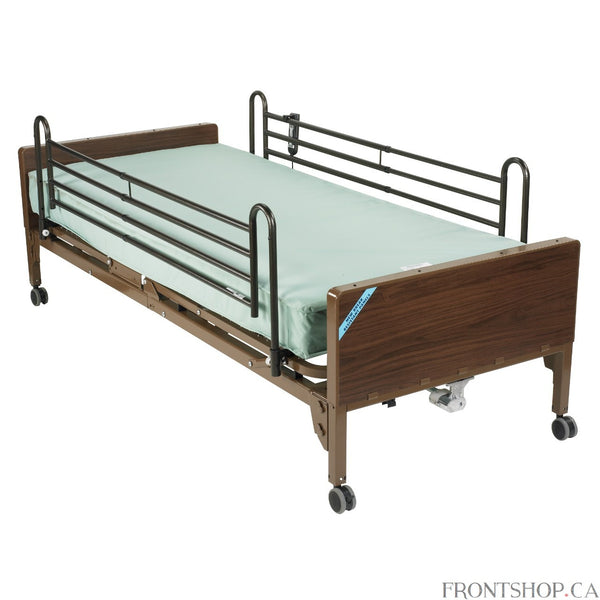 This lightweight, interchangeable and easily assembled semi-electric bed (with full side rails and mattress) is the ultra-light plus model from Drive Medical. Its new universal style head and foot boards are interchangeable, featuring high impact composite end panels. The foot section weighs 50 percent less than conventional foot sections, making your deliveries safer and easier. Bed assembly requires only five components. Even motor assembly can be either installed or removed tool free with the patient sti