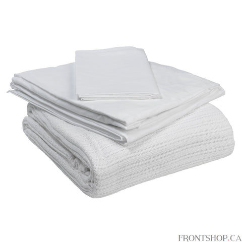 "The Bedding in a Box set from Drive Medical is perfect for use with most standard manual, semi-electric and full electric beds. The set includes a fitted bottom sheet (36"" x 80"" x 5""- 6""), a top sheet and a pillowcase - all constructed from a cotton/polyester blend, along with a 100% cotton thermal blanket. All components are comfortable and machine washable."