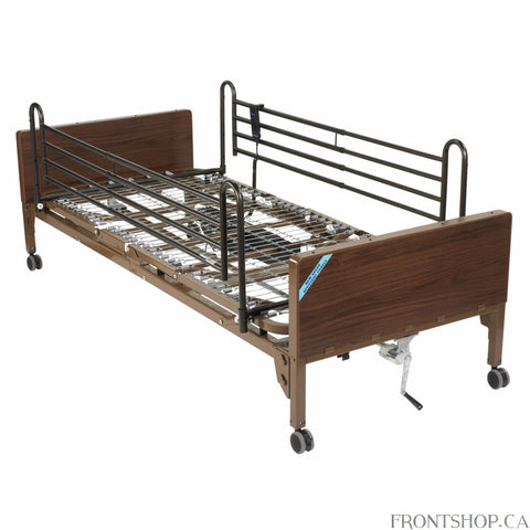 This lightweight, interchangeable and easily assembled electric bed (with full side rails) is the ultra-light plus model from Drive Medical. Its new universal style, crack proof head and foot boards are interchangeable, featuring high impact composite end panels. A height adjustment motor arrives pre-installed on the foot section but can still be either installed or removed tool free in seconds with the patient still in the bed. The unique single motor and junction box are self-contained to reduce noise and