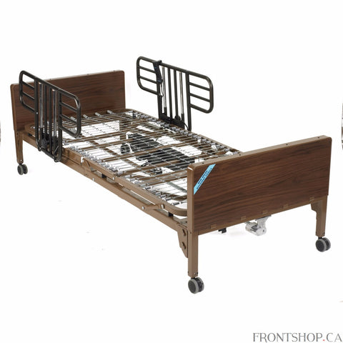 This lightweight, interchangeable and easily assembled electric bed (with half side rails) is the ultra-light plus model from Drive Medical. Its new universal style, crack proof head and foot boards are interchangeable, featuring high impact composite end panels. A height adjustment motor arrives pre-installed on the foot section but can still be either installed or removed tool free in seconds with the patient still in the bed. The unique single motor and junction box are self-contained to reduce noise and