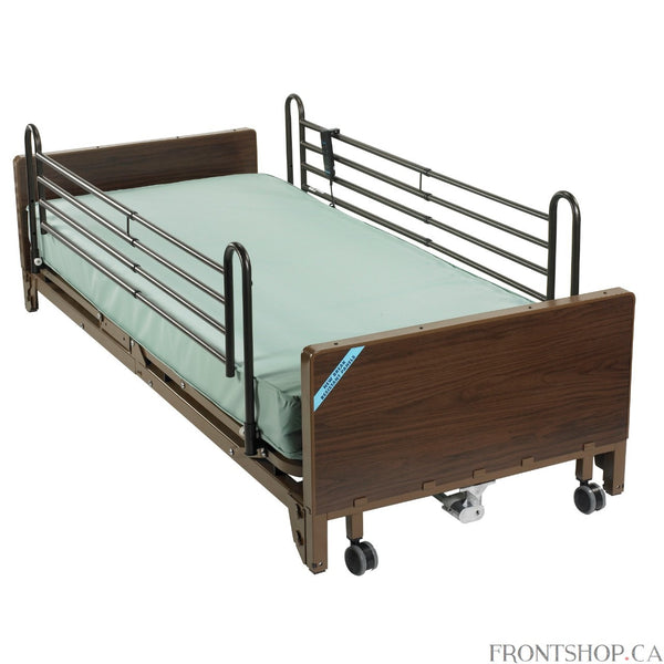 A pre-installed motor on this ultra light electric bed from Drive Medical allows you to adjust from standard to low height, suiting your ever-changing needs. A motor near the foot section of the bed lets either the patient or caregiver choose the proper height for them. And the motor can be assembled or disassembled tool free, even while the patient is in the bed. The bed is strong enough to withstand a weight capacity of up to 450 pounds yet features a caster that moves easily, making adjustments between 9