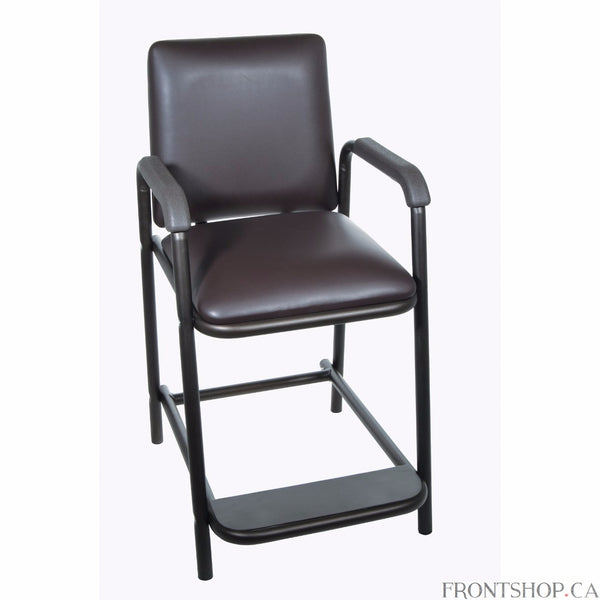 Post-hip surgery residents won't be forced to bend at the hip with this Deluxe Hip-High Chair by Drive Medical, which provides sitting without having to bend at the hips and a comfortable padded seat. Contoured armrests, which are covered in the same soft, attractive vinyl as the seat and backrest, allow you to sit and stand safely. The product is constructed from strong and durable steel in an attractive brown vein finish.