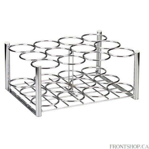 This Chrome Plated Steel Oxygen Cylinder Rack from Drive Medical is a secure way to transport or store multiple oxygen cylinders. This rack has slots for 6 oxygen cylinders, and can support either D or E cylinders. The rack even comes with mounting brackets on the underside so that it can be installed in a truck.