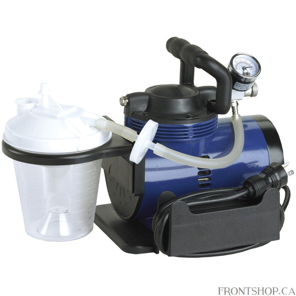 This Heavy Duty Suction Pump Machine from Drive Medical is the perfect solution for all your suction needs. The Heavy Duty Suction Pump is a professional medical suctioning device that produces a maximum vacuum of 560 mmHg. The unit is equipped with an 800 ml collection bottle and is designed for convenient and reliable use. It features an anti-bacteria filter design helps prevent contamination, a high quality vacuum regulator and anti-vibration vacuum gauge setting, oil-less, permanent lubrication, and a c