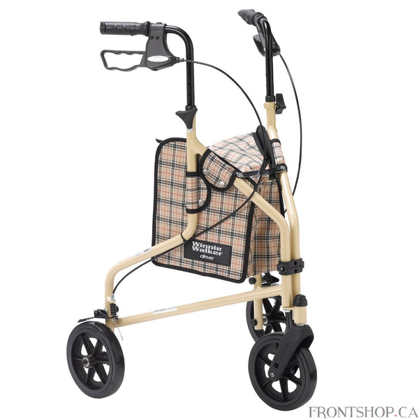 "The Winnie Lite Supreme/Go-Lite Three Wheel Rollator by Drive Medical comes in an attractive tan finish. The lightweight, solid 7.5"" tires are ideal for indoor and outdoor use and ensure a smooth ride over most surfaces. The rollator also comes with a standard, tan plaid carry pouch to easily and securely transport personal items. This 3 wheel rollator comes with special loop locks, adjustable handles and brakes."