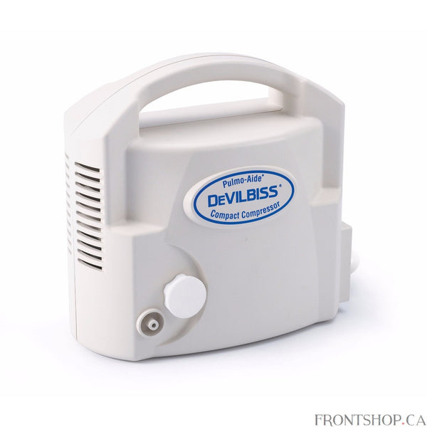 The DeVilbiss Pulmo-Aide Compact Compressor is a small footprint unit, which allows for therapy at home or can be easily transported for AC use while on the go. Features ease-of-use, a five-year warranty and the same reliable operation you have come to count on from DeVilbiss. The Pulmo-Aide Compact is the perfect solution for those patients seeking a quality, effective treatment from a compressor with a small footprint design.