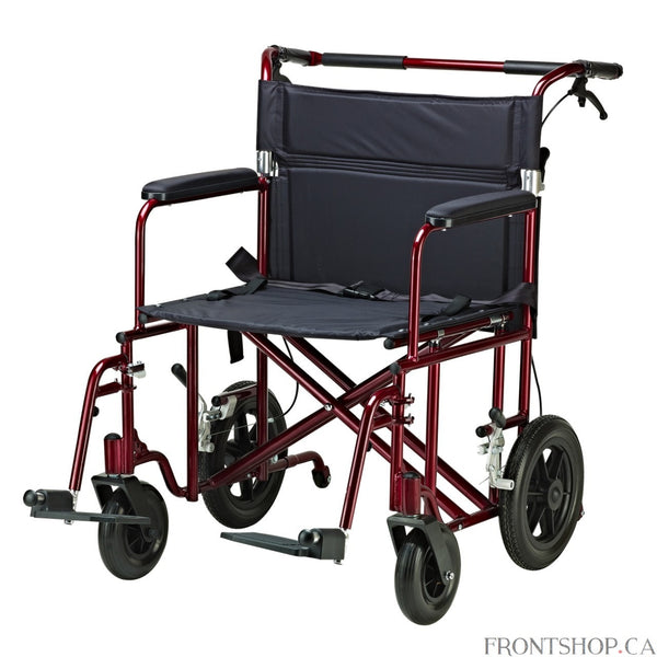 "The 22"" Bariatric Aluminum Transport Chair with 12"" Rear ""Flat Free"" Wheels by Drive Medical can support individuals up to 450 lbs. The attachable push bar with padded foam grip makes it easy to push, and the back folds down for convenient and easy storage with an easily accessible lever on the chair back. This transport chair comes with 12"" rear flat-free wheels, swing-away footrests and fixed, padded, full length desk arms for additional comfort. The heavy-duty, nylon reinforced upholstery has two carry h"
