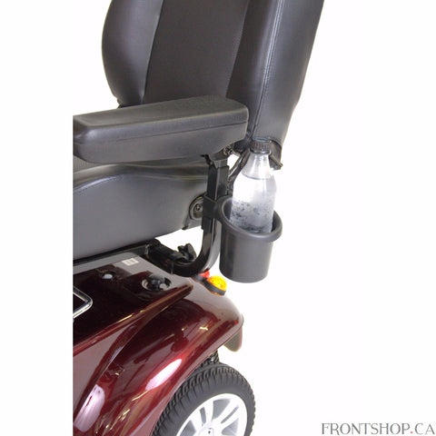 The Power Mobility Drink Holder from Drive Medical is a convenient way to take your beverage with you. Fitting most power wheelchairs and scooters, the Drink Holder quickly attaches to the armrest, making it far enough out of the way that you can't knock your drink over, but close enough that it is still easy to reach.