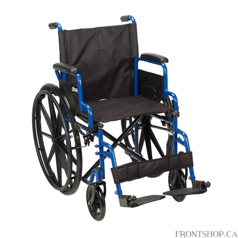 A Mobile Masterpiece of Class... Durability and Comfort The Blue Streak Wheelchair with Flip Back Desk Arms from Drive Medical represents a new class of leading-edge mobility enhanced wheelchairs that have been engineered and structured, to not only meet, but exceed the growing demands and expectations of users who cherish independence, mobility and comfort.It arrives at your door loaded with features designed to enable and enhance your mobility and comfort. Arm rests are fully padded. The frame, black cros