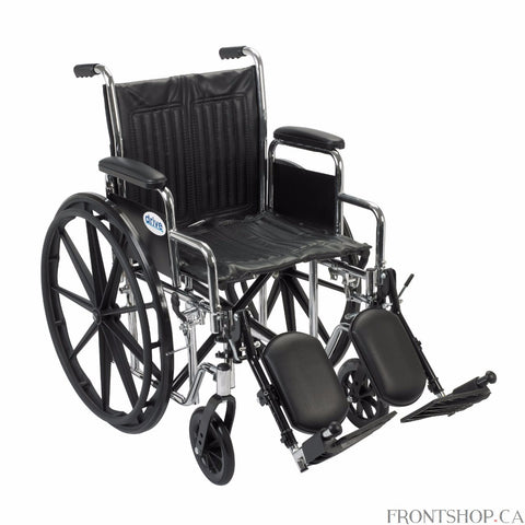 "The 18"" Chrome Sport Wheelchair with Detachable Desk Arms and Swing Away Elevating Leg rests by Drive Medical comes in an attractive, scratch resistant, durable, low maintenance chrome finish. The embossed vinyl upholstery is durable, lightweight, attractive and easy to clean and the urethane tires are mounted on composite wheels that are low maintenance and provide a smooth ride over most surfaces. Comes standard with, padded detachable desk arms, swing away elevating leg rests, plastic footplates, heel lo"