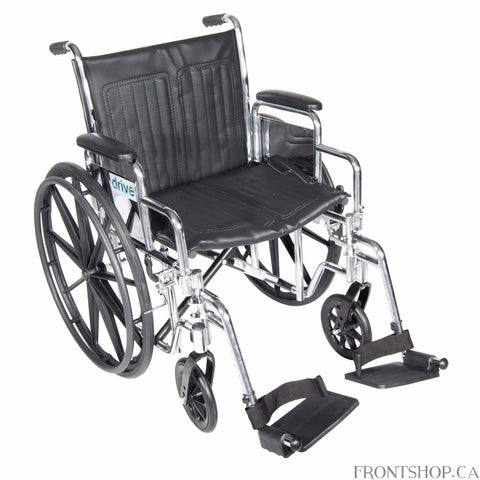 "The 18"" Chrome Sport Wheelchair with Detachable Desk Arms and Swing Away Footrests by Drive Medical comes in an attractive, scratch resistant, durable, low maintenance chrome finish. The embossed vinyl upholstery is durable, lightweight, attractive and easy to clean and the urethane tires are mounted on composite wheels that are low maintenance and provide a smooth ride over most surfaces. Comes standard with, padded detachable arms, swing away footrests, plastic footplates, heel loops, 8"" front casters and"