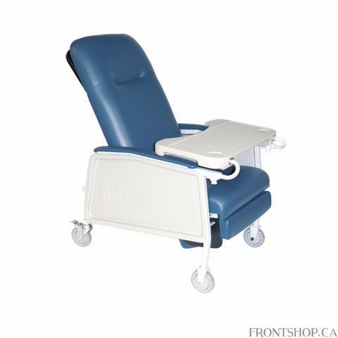 "With three comfortable positions, retractable lock bar, self-adjusting suspension and a convenient tray, this 3-position Geri chair recliner by Drive Medical includes a bevy of features. It can be positioned upright, in a deep recline or with the leg rest/footrest elevated, and a retractable lock bar secures the chair in your desired position. The self-adjusting suspension prevents the problem of the user ""bottoming out"" in the seat, which is protected from seepage by a moisture barrier. The product include"
