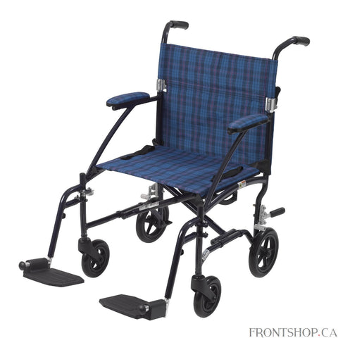 "The 19"" Fly Lite Ultra Lightweight Aluminum Transport Chair by Drive Medical, available in a variety of attractive colors, is an ultra light transport chair, weighing under 17 lbs without riggings.  This transport chair comes with a stylish blue aluminum frame and blue plaid nylon upholstery. It is also durable and easy to clean. Comes standard with a carry pocket on the back rest to easily and securely transport personal items, seatbelt for added safety, and tool free, height adjustable swing away footrest"