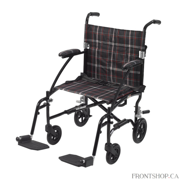 "The 19"" Fly Lite Ultra Lightweight Aluminum Transport Chair by Drive Medical, available in a variety of attractive colors, is an ultra light transport chair, weighing under 17 lbs without riggings.  This transport chair comes with a stylish black aluminum frame and black/white/red plaid nylon upholstery. It is also durable and easy to clean. Comes standard with a carry pocket on the back rest to easily and securely transport personal items, seatbelt for added safety, and tool free, height adjustable swing a"