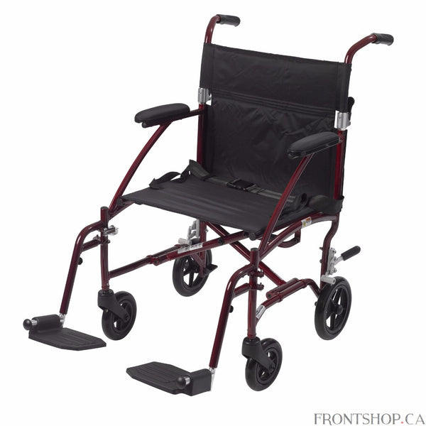 "The 19"" Fly Lite Ultra Lightweight Aluminum Transport Chair by Drive Medical, available in a variety of attractive colors, is an ultra light transport chair, weighing under 17 lbs without riggings.  This transport chair comes with a stylish burgundy aluminum frame and black nylon upholstery. It is also durable and easy to clean. Comes standard with a carry pocket on the back rest to easily and securely transport personal items, seatbelt for added safety, and tool free, height adjustable swing away footrests"