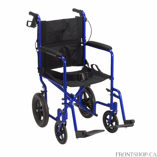 "Although the Expedition 19"" Aluminum Transport Chair in an attractive blue by Drive Medical weighs only 19 pounds, it supports up to 300 lbs. This transport chair comes standard with 12"" rear flat free tires to provide a stable ride over a variety of terrain. The companion activated wheel locks and seatbelt make the Expedition Aluminum Transport Chair safe and easy to use. The Expedition folds down flat for convenient storage and transportation."