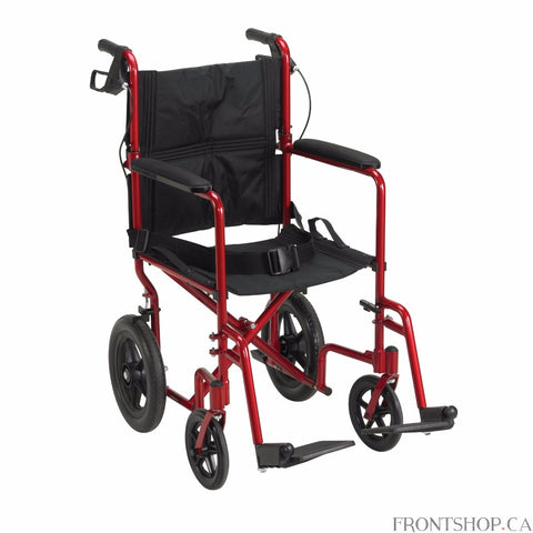 "Although the Expedition 19"" Aluminum Transport Chair in an attractive red by Drive Medical weighs only 19 pounds, it supports up to 300 lbs. This transport chair comes standard with 12"" rear flat free tires to provide a stable ride over a variety of terrain. The companion activated wheel locks and seatbelt make the Expedition Aluminum Transport Chair safe and easy to use. The Expedition folds down flat for convenient storage and transportation."