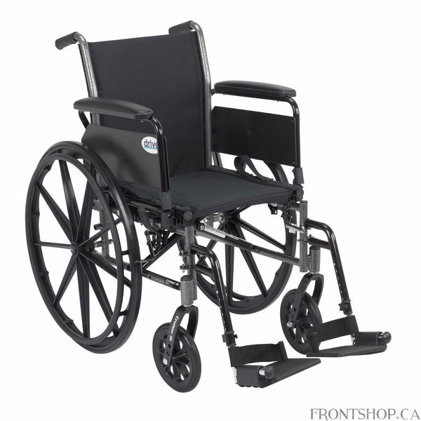 "The 16"" Cruiser III Wheelchair with Flip Back Detachable Full Arms and Swing Away Footrests by Drive Medical has a carbon steel frame that eliminates seat guides and allows for custom back inserts and accessories. The silver vein finish is attractive and easy to maintain. The precision sealed wheel bearing, in front and rear, ensure long lasting performance and reliability, while the 8"" front caster wheels provide a smooth ride over most surfaces. The dual axle and removable, flip back, desk arms makes tran"