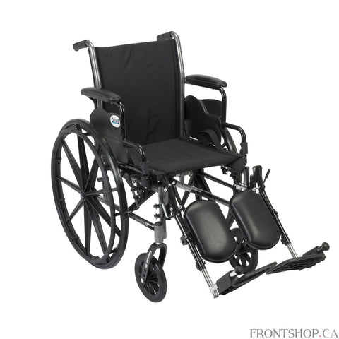 "The 18"" Cruiser III Wheelchair with Flip Back Detachable Desk Arms and Elevating Leg rests by Drive Medical has a carbon steel frame that eliminates seat guides and allows for custom back inserts and accessories. The silver vein finish is attractive and easy to maintain. The precision sealed wheel bearing, in front and rear, ensure long lasting performance and reliability, while the 8"" front caster wheels provide a smooth ride over most surfaces. The dual axle and removable, flip back, desk arms makes trans"