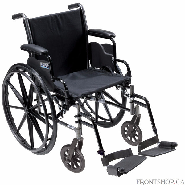"The 18"" Cruiser III Wheelchair with Flip Back Detachable Desk Arms and Swing Away Footrests by Drive Medical has a carbon steel frame that eliminates seat guides and allows for custom back inserts and accessories. The silver vein finish is attractive and easy to maintain. The precision sealed wheel bearing, in front and rear, ensure long lasting performance and reliability, while the 8"" front caster wheels provide a smooth ride over most surfaces. The dual axle and removable, flip back, desk arms makes tran"