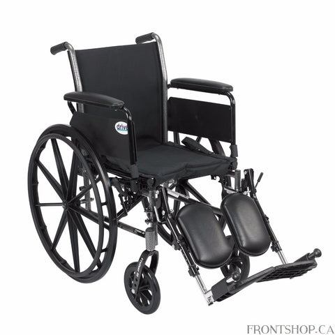 "The 20"" Cruiser III Wheelchair with Flip Back Detachable Full Arms and Elevating Leg rests by Drive Medical has a carbon steel frame that eliminates seat guides and allows for custom back inserts and accessories. The silver vein finish is attractive and easy to maintain. The precision sealed wheel bearing, in front and rear, ensure long lasting performance and reliability, while the 8"" front caster wheels provide a smooth ride over most surfaces. The dual axle and removable, flip back, full arms makes trans"