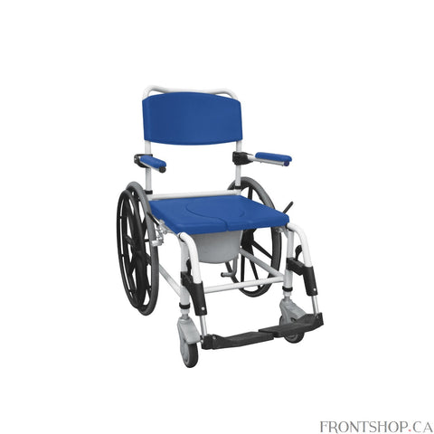 The Aluminum Shower Commode Wheelchair is perfect for people who need a commode but also want the convenience of a wheelchair for easy transportation and mobility. The rear wheels allow the user to propel themselves while seated. The seat cut-out provides comfort and allows the chair to be positioned over a standard toilet for use, but also comes with a bucket to be used anywhere it is required. The aluminum frame of the Shower Commode Chair is an attractive white color and is also resistant to rust which m