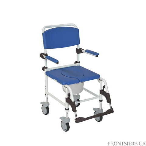 The Aluminum Shower Commode Transport Chair is perfect for people who need a commode but also want the convenience of a wheelchair for easy transportation and mobility. The chair comes with two rear locking casters to provide safety when the user does not need to be moved. The seat cut-out provides comfort and allows the chair to be positioned over a standard toilet for use, but also comes with a bucket to be used anywhere it is required. The aluminum frame of the Shower Commode Chair is an attractive white