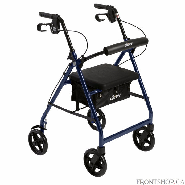 "The Rollator with Folding Removable Back Support in blue by Drive Medical comes standard with 7.5"" caster wheels, loop locks and serrated brakes to ensure safety. The seamless padded seat opens to a roomy, convenient, zippered storage pouch to easily and securely transport personal items. The ergonomic handles are easy to grip, relieve hand pressure, and are height adjustable to accommodate users height."