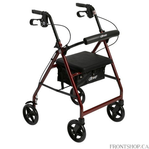 "The Rollator with Folding Removable Back Support in red by Drive Medical comes standard with 7.5"" caster wheels, loop locks and created brakes to ensure safety. The seamless padded seat opens to a roomy, convenient, zippered storage pouch to easily and securely transport personal items. The ergonomic handles are easy to grip, relieve hand pressure, and are height adjustable to accommodate users height."