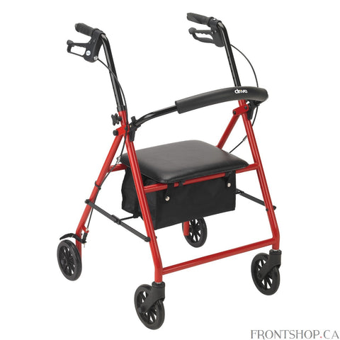 If you're seeking a safe, convenient aid to improving your daily mobility, a Rollator can be the ideal solution. Wheels make a Rollator a superior option over a standard walker, eliminating the need to lift the device and allowing you to walk with an easy, smooth gait. Plus, Rollators are better for traveling over uneven, outdoor terrain, making them great for your active, busy lifestyle. And with the built-in seat found on a Rollator, you'll always have a convenient place to rest. Drive's Red Rollator with