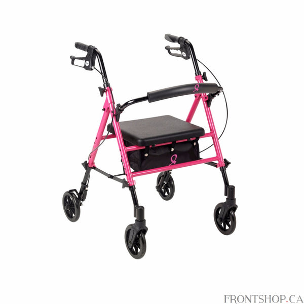 If you experience limited mobility, the Adjustable Height Rollator provides safety and security while showing your support of the American Cancer Society (ACS). The Adjustable Height Rollator offers easy height adjustment of the seat and handles and includes a padded seat and back support for added comfort. It even has a handy storage pouch for the items you take with you. And, in honor of the famous ACS Pink Ribbon campaign, the Rollator is colored pink to promote breast cancer research, treatment, and awa